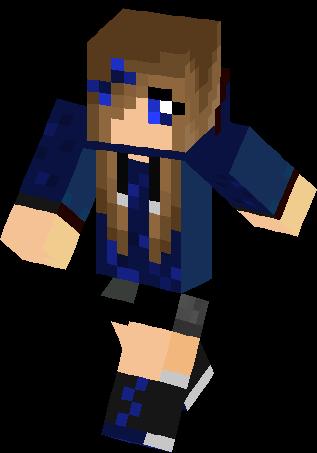 Blue Hoodie Girl Skin Minecraft Skins