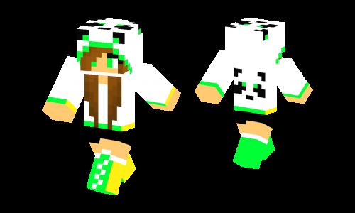 Neon Green Panda Girl Skin